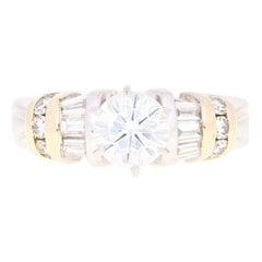 Moissanite & Diamond Engagement Ring - 14k White & Yellow Gold Size 8