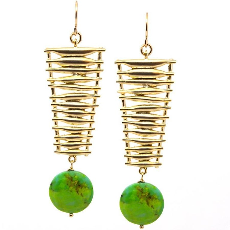 Mojave Turquoise Gold Ladder Earrings