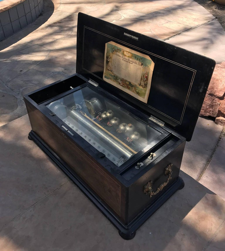 Mojon Manger Vintage Six Bell, Cylinder, 12 Airs Rosewood Swiss Music Box In Excellent Condition For Sale In Scottsdale, AZ