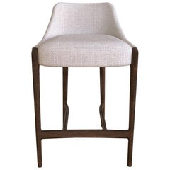 Moka Counter Stool in White Vellutino Fabric