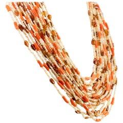 Moka Mother Pearl Coral Fume Quartz Chunky Bold Beaded Multi Strand Necklace