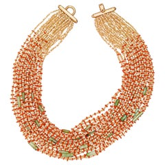 Moka Mother Pearl Red Coral Chrysoprase Chunky Bold Beaded Multi-Strand Necklace