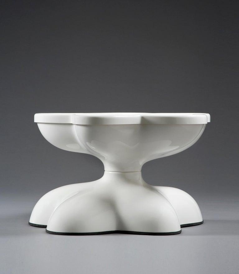 Modern Wendell Castle Molar Swivel Coffee Table in White Plastic For Sale