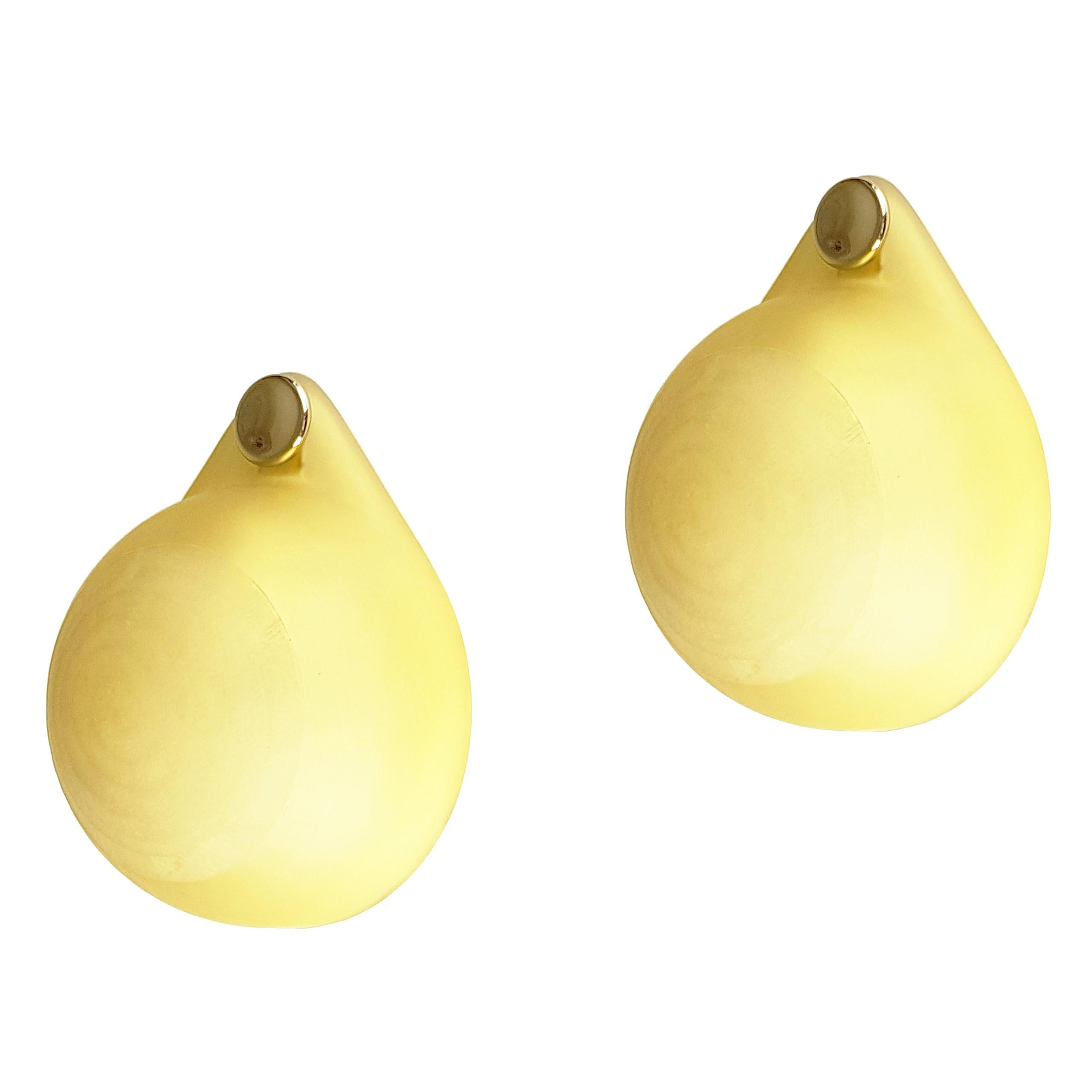 """Molded and Cut Yellow Glass 1980s """"Drop"""" Sconces by VeArt"""