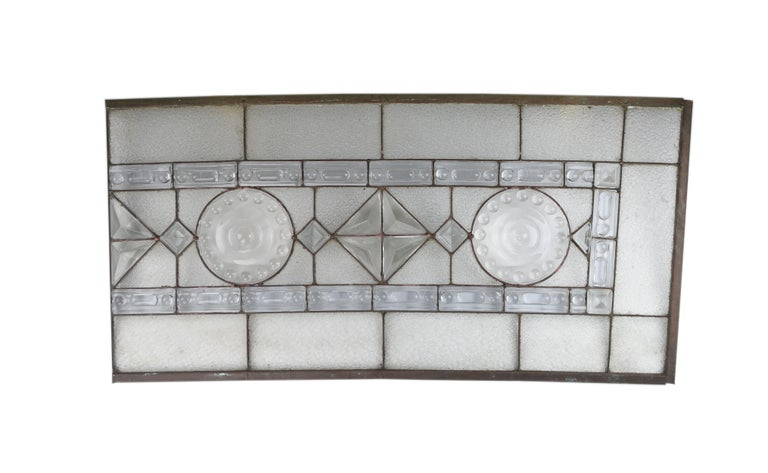 Early 20th Century Molded Glass 4-Piece Arched Window For Sale