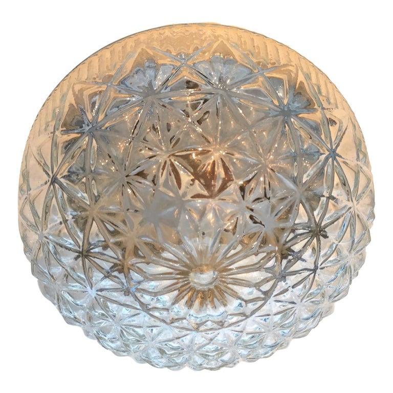 Molded Glass Flush Mount Fixture In Good Condition For Sale In New York, NY