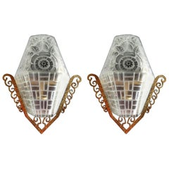 Molded Glass with Polished Bronze Pair of Sconces