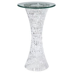 Molded Lucite Side Table with Glass Top, 20th Century