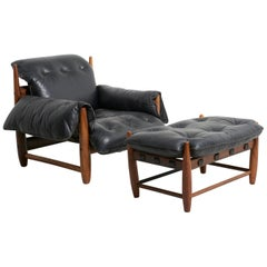 'Mole' Chair with Ottoman by Sergio Rodrigues