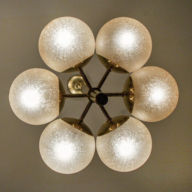 Molecular Chandelier by Kaiser with Six Smoked Handblown Glass Globes For Sale 3