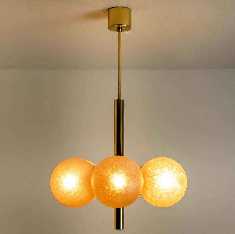 Molecular Chandelier by Kaiser with Six Smoked Handblown Glass Globes For Sale 4