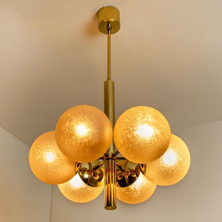 Molecular Chandelier by Kaiser with Six Smoked Handblown Glass Globes For Sale 5