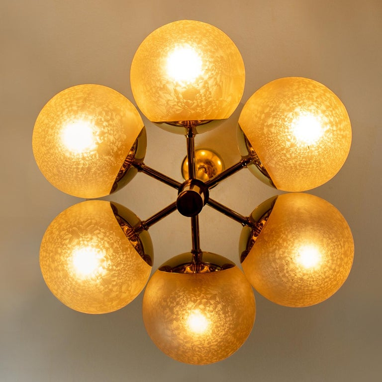 Molecular Chandelier by Kaiser with Six Smoked Handblown Glass Globes For Sale 6