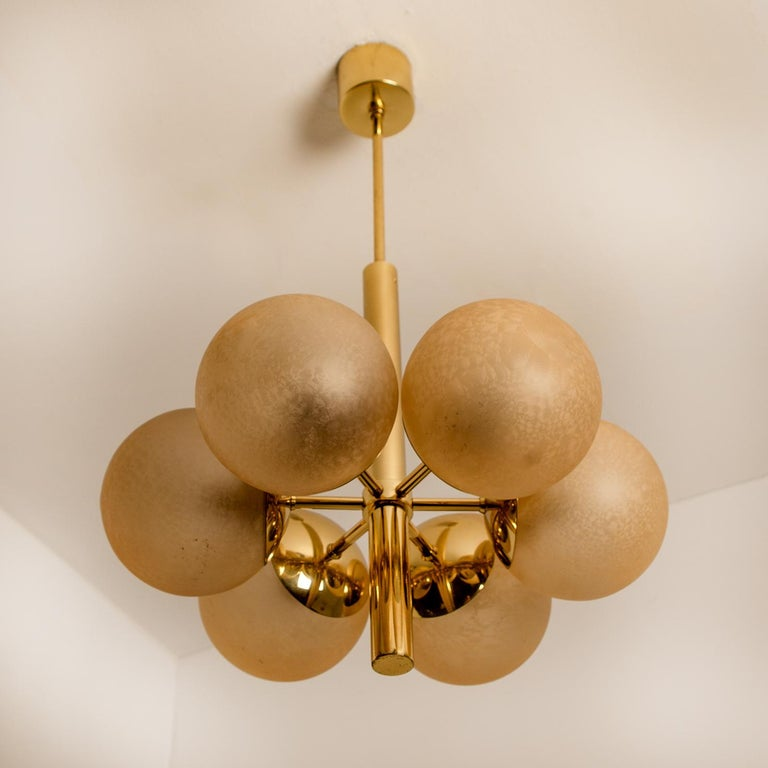 Mid-Century Modern Molecular Chandelier by Kaiser with Six Smoked Handblown Glass Globes For Sale