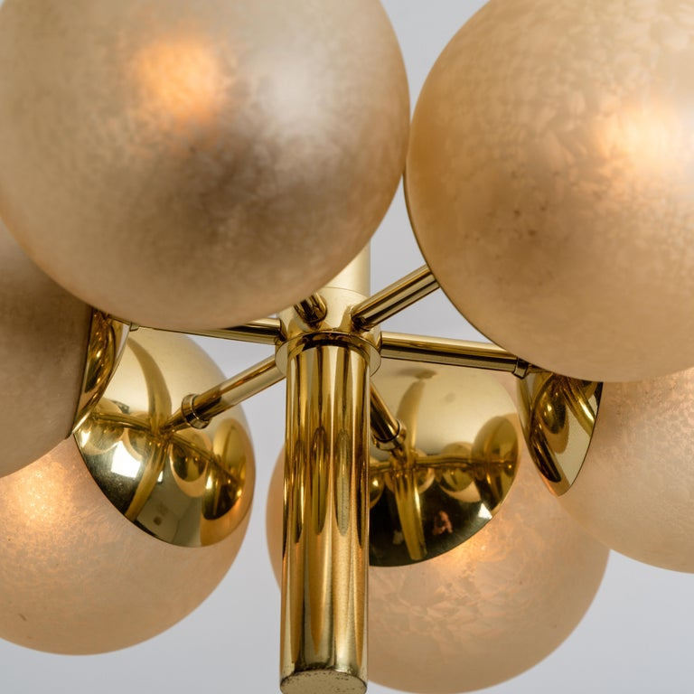 20th Century Molecular Chandelier by Kaiser with Six Smoked Handblown Glass Globes For Sale