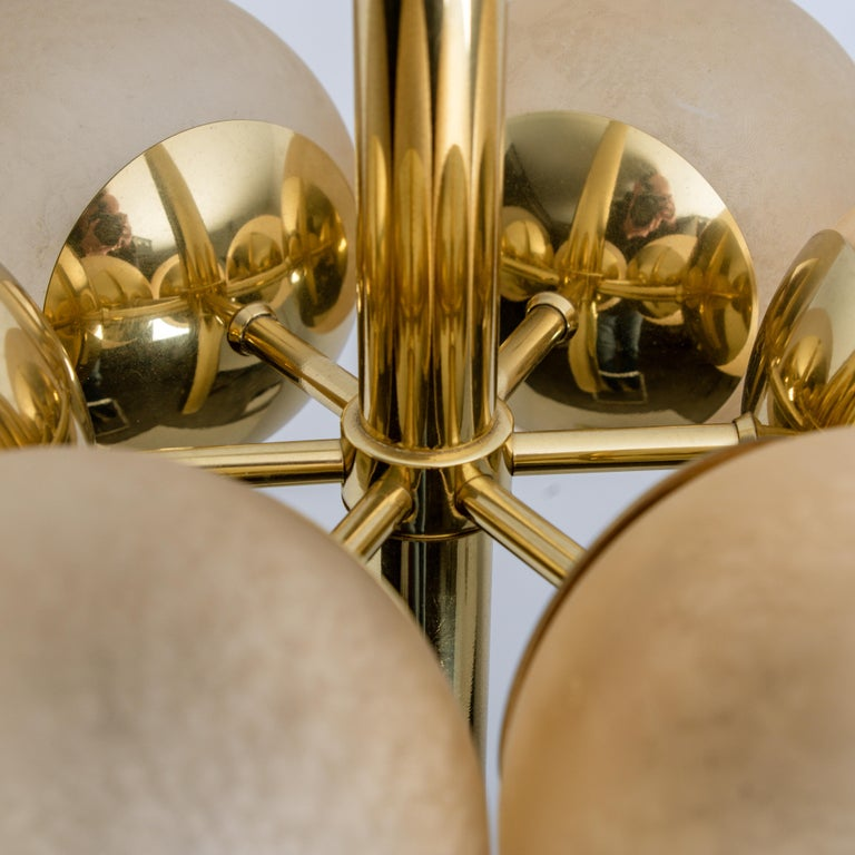 Brass Molecular Chandelier by Kaiser with Six Smoked Handblown Glass Globes For Sale