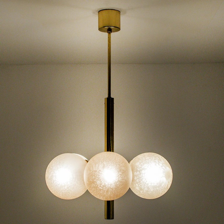 Molecular Chandelier by Kaiser with Six Smoked Handblown Glass Globes For Sale 1