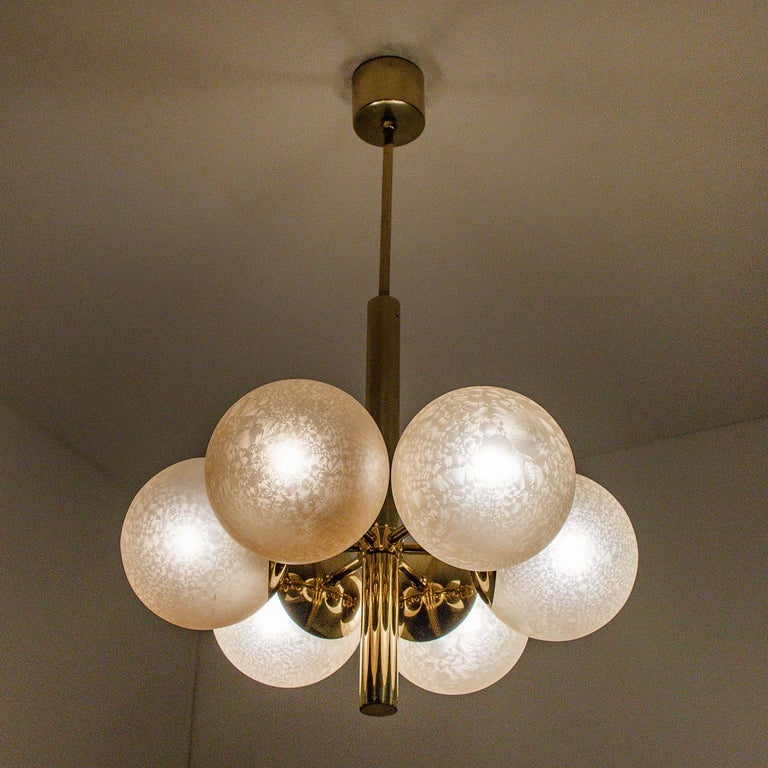 Molecular Chandelier by Kaiser with Six Smoked Handblown Glass Globes For Sale 2