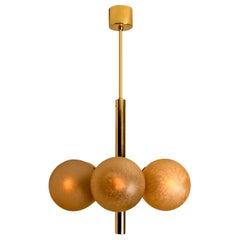 Molecular Chandelier by Kaiser with Six Smoked Handblown Glass Globes