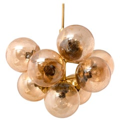 Molecular Chandelier by Kaiser with Smoked Hand Blown Glass Globes