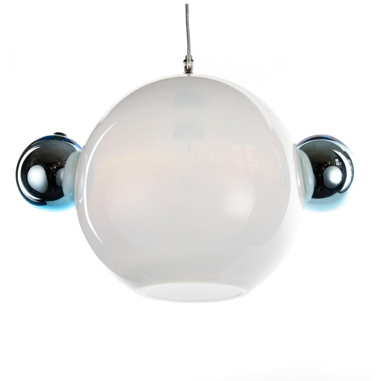 Molecule Pendant - Double, Contemporary Handmade Glass Lighting, Opaline w Blue For Sale