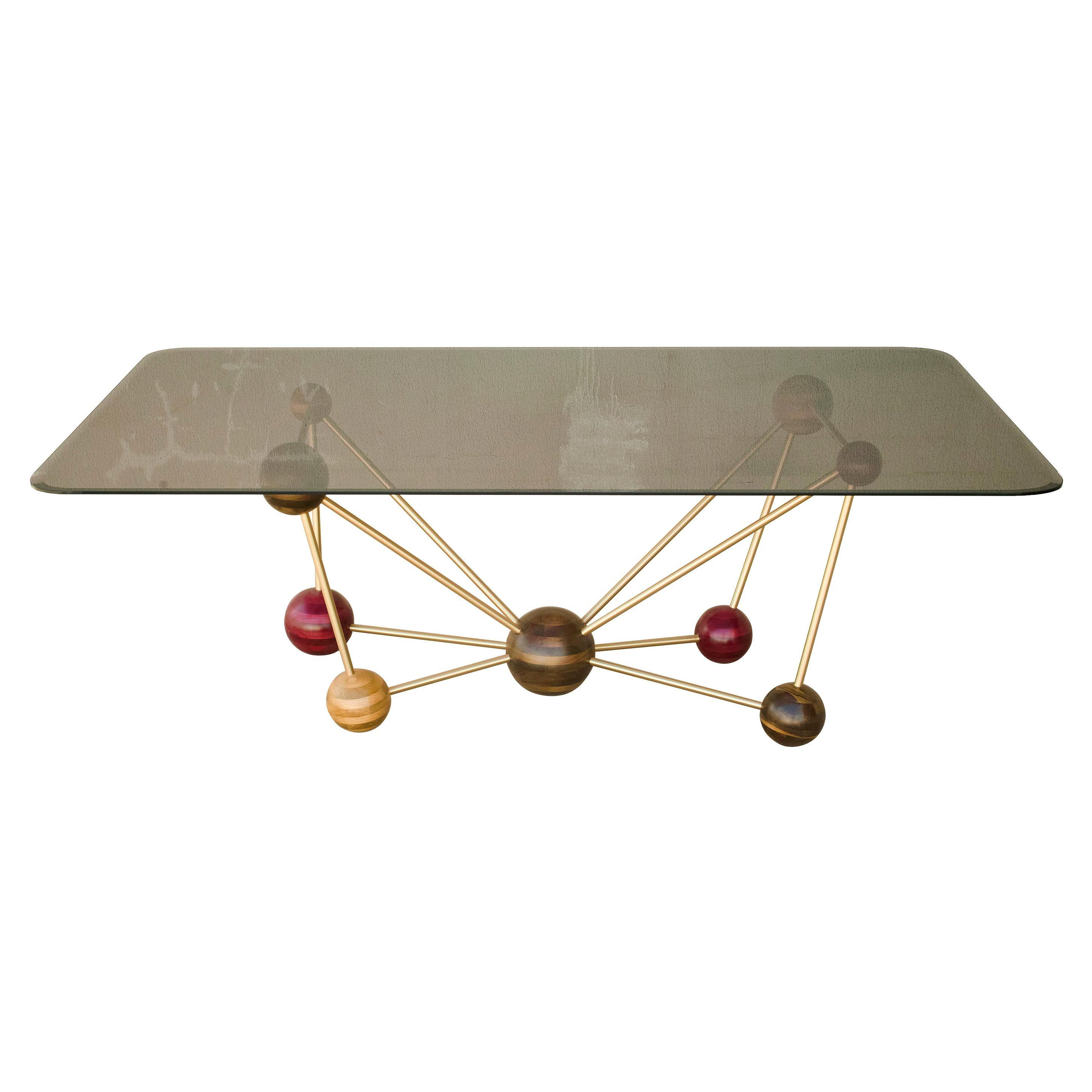 Molecule, StudioManda, Dining Table, Wood, Smoked Glass, Brass, Lebanon, 2014