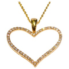 Molina Italy Diamond Pave Open Heart 18 Karat Gold Enhancer Pendant and Chain