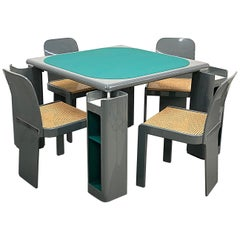 Molinari Gray Lacquered Wood Game Table and Chairs for Pozzi Milano, Italy 1970s