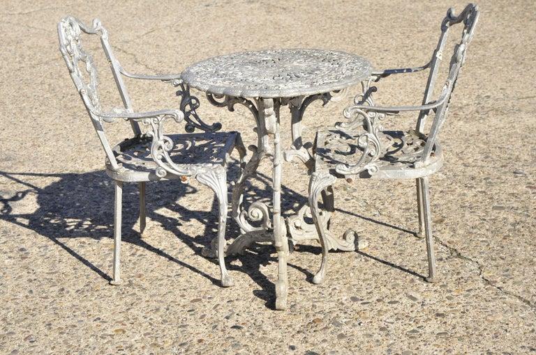 Molla Antique French Victorian Aluminum Garden Patio Bistro Dining Set, 3 Piece 7