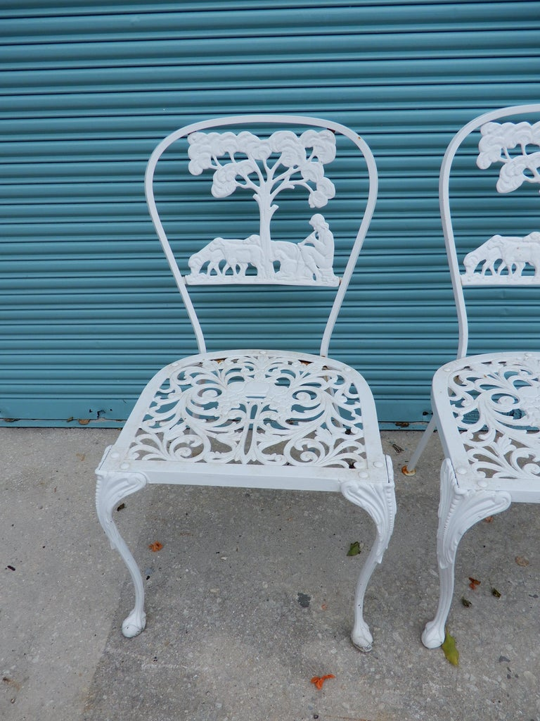 Molla Dining Chairs Figural Cast Aluminum In Good Condition For Sale In Long Island, NY