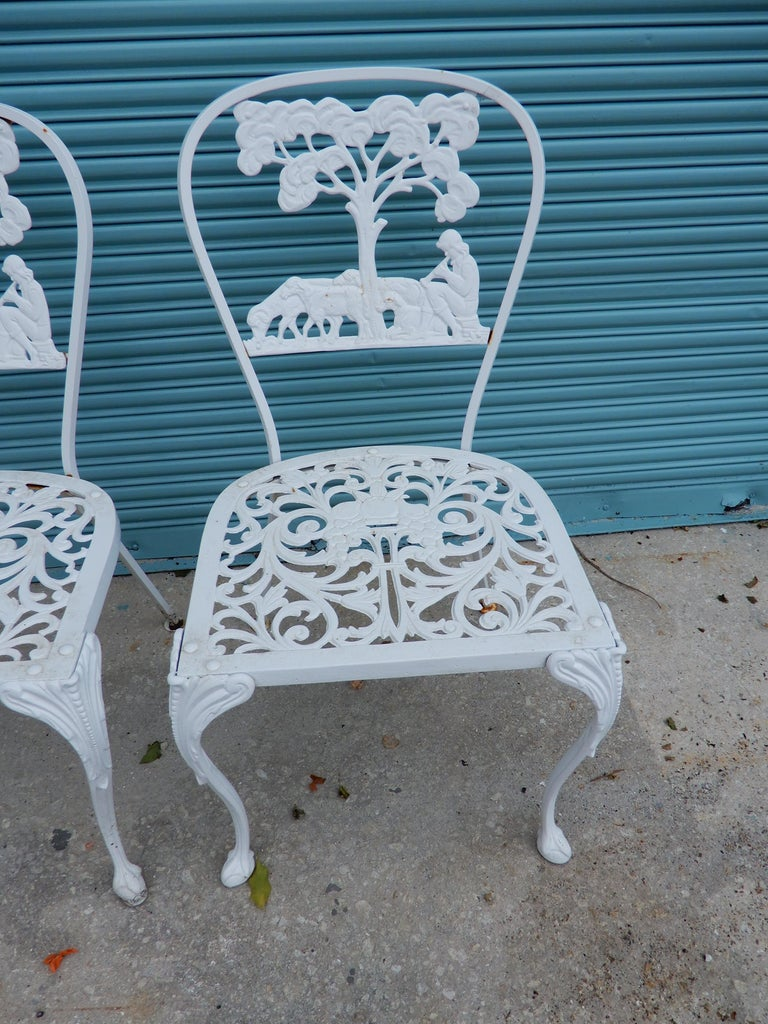 Mid-20th Century Molla Dining Chairs Figural Cast Aluminum For Sale