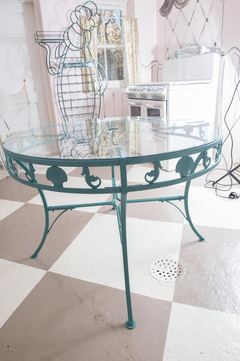Neoclassical Molla Metal Seahorse & Clam Shell Garden Dining Table For Sale