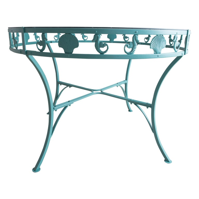 Molla Metal Seahorse & Clam Shell Garden Dining Table For Sale