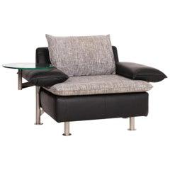 Möller Design Tayo Leather Fabric Armchair Black Gray Incl. Glass Shelf