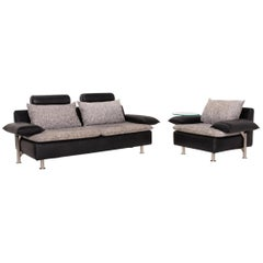 Möller Design Tayo Leather Fabric Set Sofa Black Gray 1 Two-Seat 1 Armchair