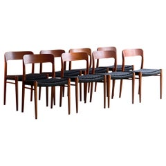 Moller Model 75 Dining Chairs Set of Eight in Teak and Black Paper Cord, 1970
