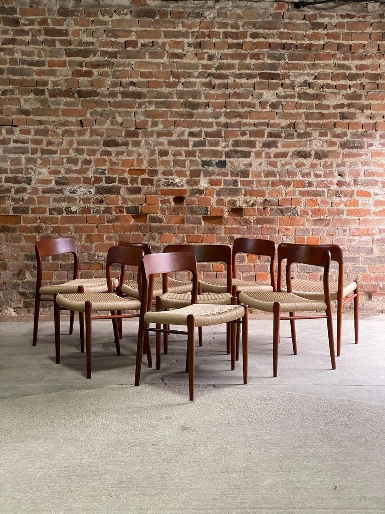 Niels Moller Model 75 teak and paper cord dining chairs set of eight, Denmark, 1970.