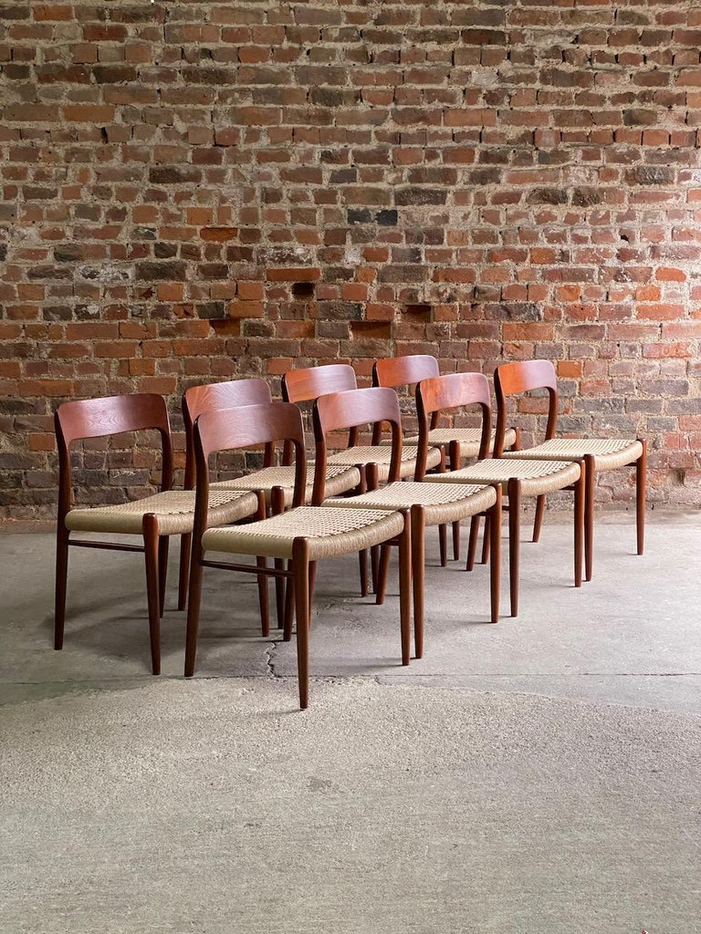 Mid-Century Modern Moller Model 75 Dining Chairs Set of Eight in Teak and Paper Cord, 1970