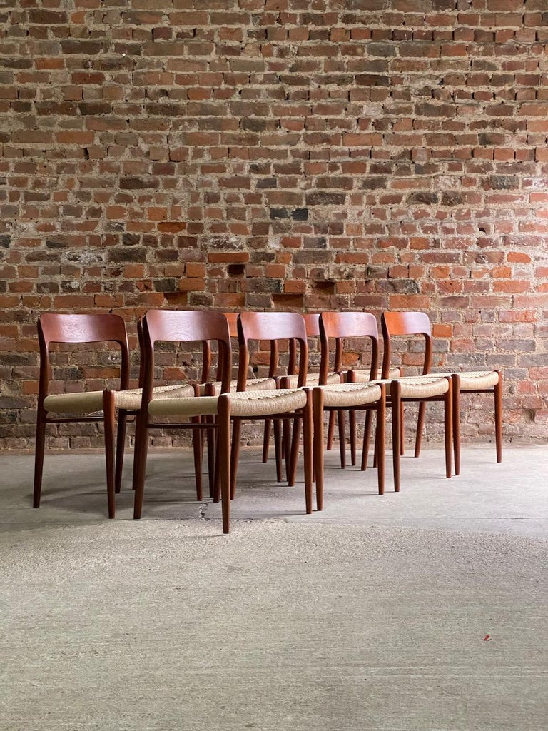 Danish Moller Model 75 Dining Chairs Set of Eight in Teak and Paper Cord, 1970