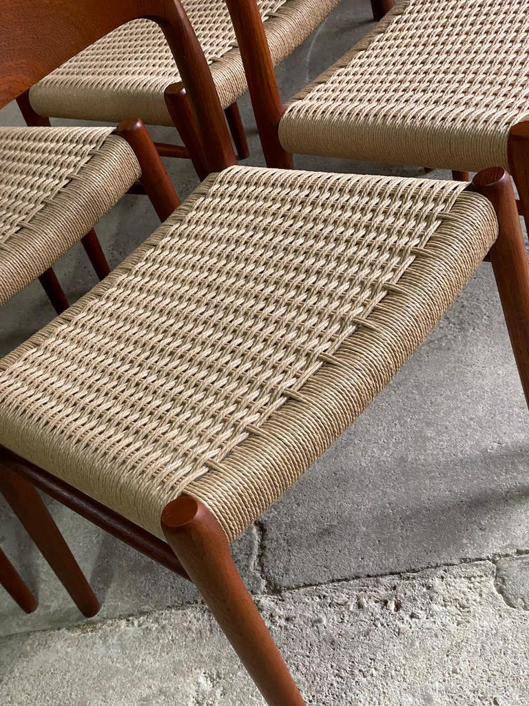 Late 20th Century Moller Model 75 Dining Chairs Set of Eight in Teak and Paper Cord, 1970