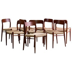 Moller Model 75 Dining Chairs Set of Eight in Teak and Paper Cord, 1970
