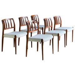 Moller Model 83 Rosewood Dining Chairs Set of Six in Bouclé, Denmark, 1970