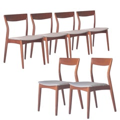 Moller Styled Midcentury Grey Teak Swedish Set of Six Chairs, Sweden, 1960