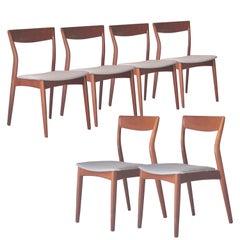 Moller Styled Midcentury Grey Teak Swedish Set of Six Chairs, Sweden, 1960