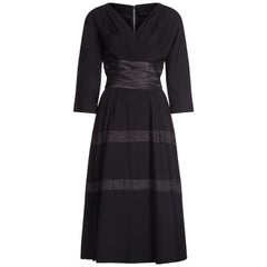 Mollie Parnis 1950s Black Dress with Pleated Ribbon Inserts