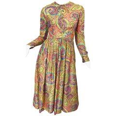 Mollie Parnis 1960s Silk Metallic Paisley Print Rhinestone Vintage 60s Dress