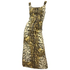 Mollie Parnis 1970s Leopard Cheetah Print Sequined Vintage 70s Cotton Midi Dress