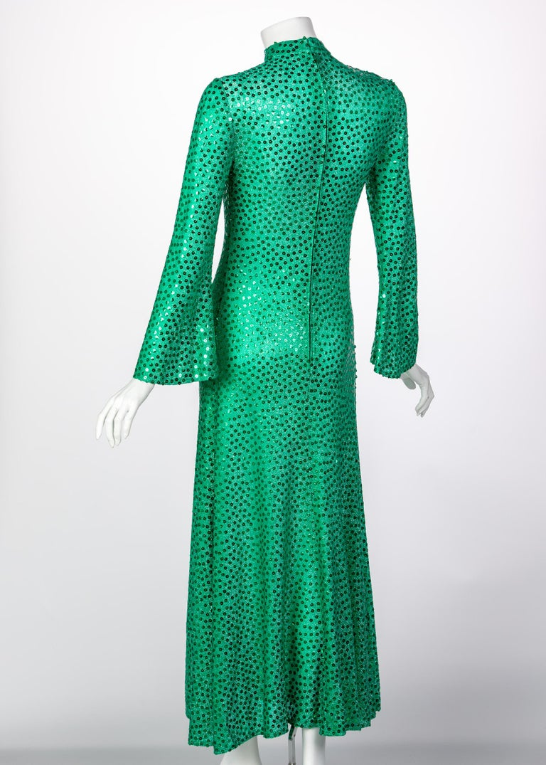 Women's Mollie Parnis Emerald Green Mock Neck Sequin Dress, 1960s For Sale