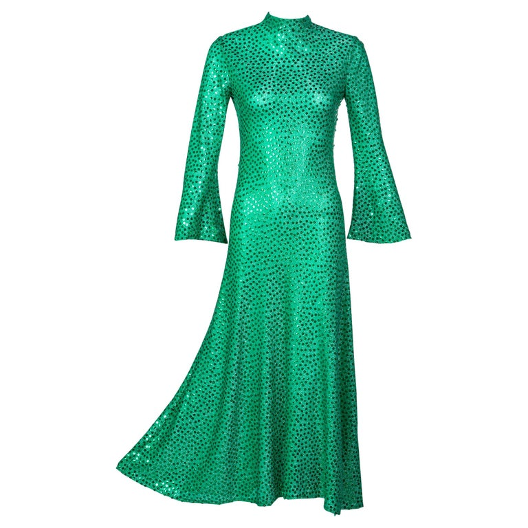Mollie Parnis Emerald Green Mock Neck Sequin Dress, 1960s For Sale
