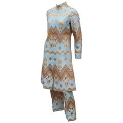 Mollie Parnis Nehru Inspired Pant Suit Ensemble, C.1970